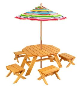 Kidkraft Octagon Table & 4 Stools & Multi Striped Umbrella