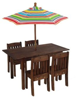 Kidkraft Table & Stacking Chairs w/ Striped Umbrella