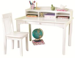Avalon Desk with Hutch - White