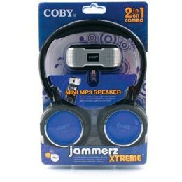 Coby CV18523BLU Super Bass Digital Stereo HP with Folding Headband & Bonus CSMP23 IN BLUE
