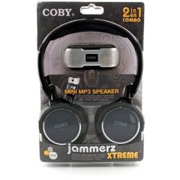 Coby CV18523BLK Super Bass Digital Stereo HP with Folding Headband & Bonus CSMP23 IN BLACK