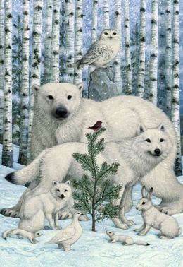 BYWATERS ANIMALS AND BIRCH TREES CHRISTMAS BOXED CARD