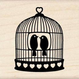 Inkadinkado Mounted Rubber Stamp-Heart Bird Cage.