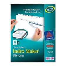 Avery Consumer Products AVE11447 Index Maker- Laser- Punched- 8-Tabs- White