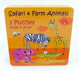 Safari & Farm Animals 2 Puzzles in Tin Box