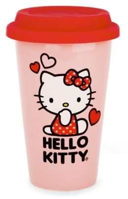 Hello Kitty Double Wall Ceramic Mug w/ Silicone Lid & Decal
