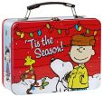 Product Image. Title: Peanuts 'Tis the Season Tin Lunch Tote