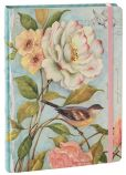 "Product Image. Title: Cottage Floral with Bird Deluxe Bound Lined Journal (6""x8"")"