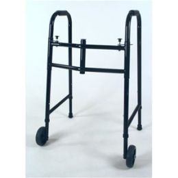 Deluxe Double Button Folding Walker in Black