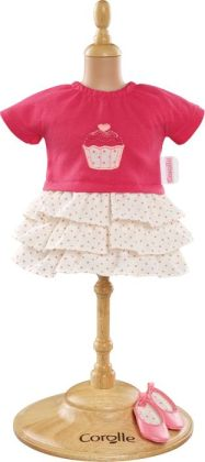 Corolle Mademoiselle Ruffle Dress & Shoes Doll Clothes, Fits 14 Inch Dolls