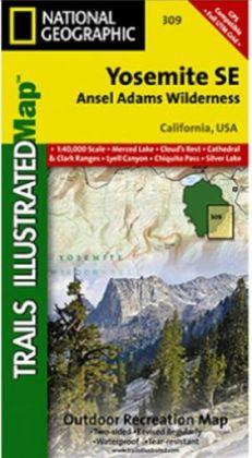 National Geographic TI00000309 Map Of Yosemite SE-Ansel Adams Wilderness - California