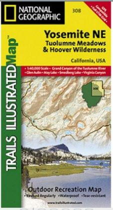 National Geographic TI00000308 Map Of Yosemite NE-Tuolumne Meadows And Hoover Wilderness - California