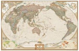 National Geographic RE01020334 World Executive - Pacific Centered - Enlarged Map