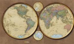 National Geographic RE00620554 World Hemispheres Map - Laminated