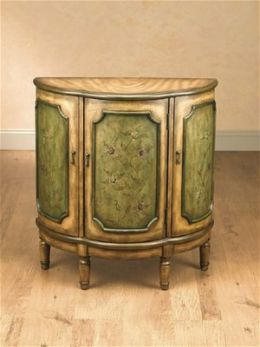 AA Importing 47284 Three Door Half Moon Cabinet - Medium Brown with Floral Pattern on Green
