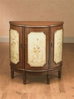 AA Importing 47285 Three Door Half Moon Cabinet - Medium Brown with Floral Pattern on Antique Ivory