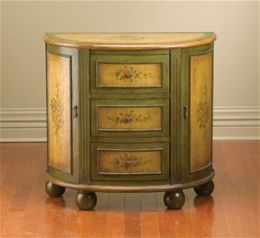 AA Importing 49670 Half Moon Console Cabinet - Green and Yellow Brown