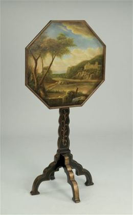 AA Importing 38701 Octagonal Tilt Top Table with Handpainted Landscape Scene