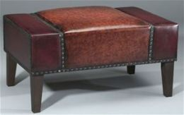 AA Importing 39418 Faux Leather Rectangular Ottoman - Burgundy and Brown