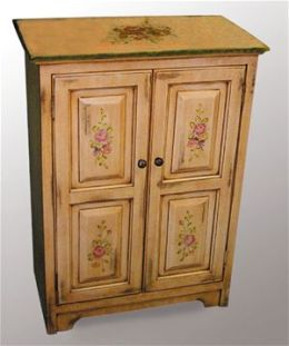 AA Importing 40034 Ivory Two Door Cabinet With Floral Painting