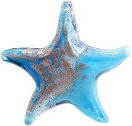 Blue Moon Enchanted Planet Glass Pendants-Starfish (50mmx55mm) - Blue/Gold 1/Pkg