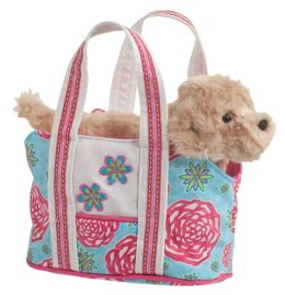 Floral Harvest Tote with Golden Retriever 7 inch Tote