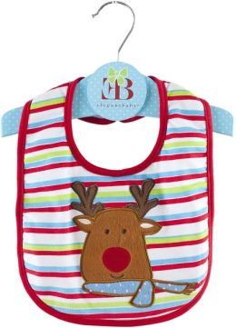Christmas Bib, reindeer applique