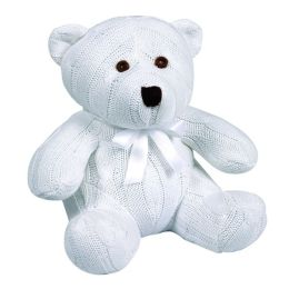 Knit Cable Teddy Bear - White
