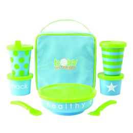 Baby on the Go Feeding Set - Blue/Green