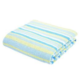 Knit Receiving Blanket - Blue Multi-Stripe