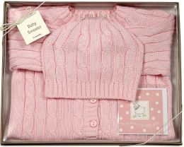 Boxed Pink Cable Sweater and Hat Set 0-6 Months
