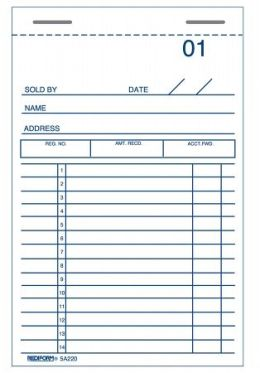 Rediform - Blueline 3-.63in. X 6in. Carbonized Duplicate Sales & Guest Check Book 5