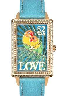 Arjang & Co PS-4002G-BL Love Birds Gold Colored Oversized Rectangular