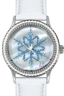 Arjang & Co HY-1020S-WH Alaskan Snowflake Round White Strap