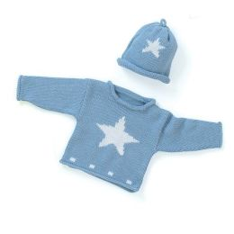 Blue Star Sweater and Hat Set 0-6 Months