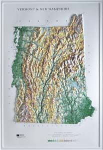 Hubbard Scientific Raised Relief Map 959 Vermont New Hampshire State Map