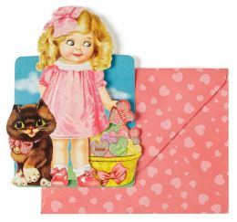 Embellished Kiddie Blonde Girl Valentine Boxed Cards - Set of 8