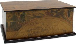 Antique Map Large Rectangular Wooden Box with Lid 11.8''