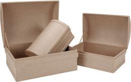 Paper Mache Treasure Chest Box Set of 3-12