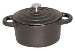 Paderno World Cuisine Black Mini 0.27 Qt. Round Cast Iron Lidded Casserole