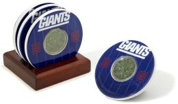 New York Giants Final Season Coasters with Yard Markers and Game Used Turf - Set of 4
