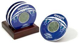 Dallas Cowboys, Texas Stadium Final Season Coasters with Gamed Used Turf - Set of 4