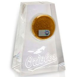 Baltimore Orioles Tapered Crystal Paperweight with Game Used Dirt