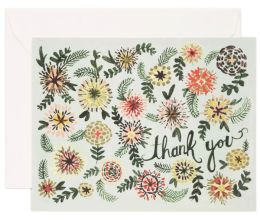 Green Floral Thank You Note Card Set of 8
