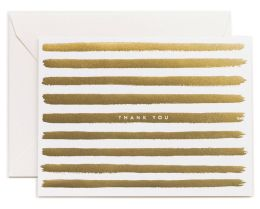 Gold Stripes Thank You Note Card Set of 8