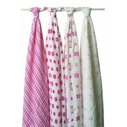 aden + anais cotton muslin swaddles, 4 pack, princess posie