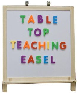 Crestline 304 2-in-1 Table Top Teaching Magnetic Whiteboard and Hardboard Easel - Clips, Hooks and Pegs