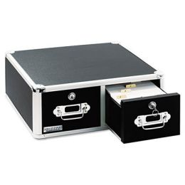Ideastream VZ01395 Vaultz Locking 6 x 4 Two-Drawer Index Card Box, 3000-Card Capacity, Black