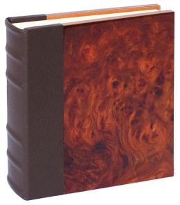 Burlwood Photo Album with Brown Genuine Leather Spine (9