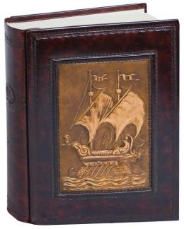 Hand Crafted Brown Genuine Leather Photo Album with Embossed Sailing Ship Image 9x12